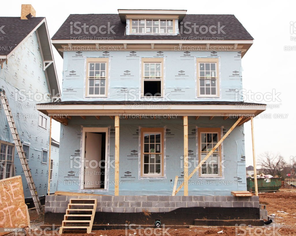 Exterior of a home under construction stock photo