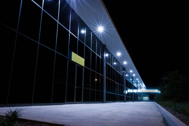 Exterior of a large industrial warehouse in a commercial zone. stock photo