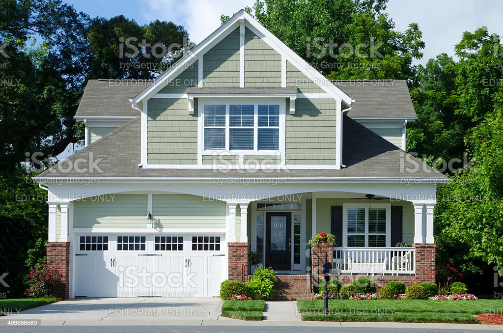 Exterior of a New, Bungalow, Cottage-style Home stock photo