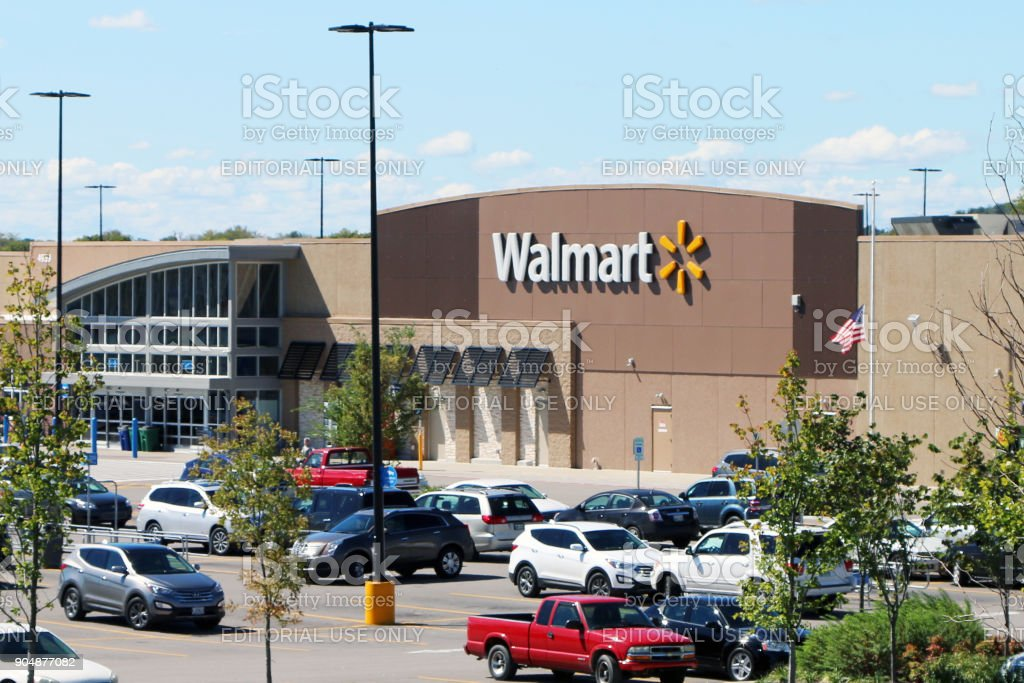 Exterior of a Walmart store stock photo