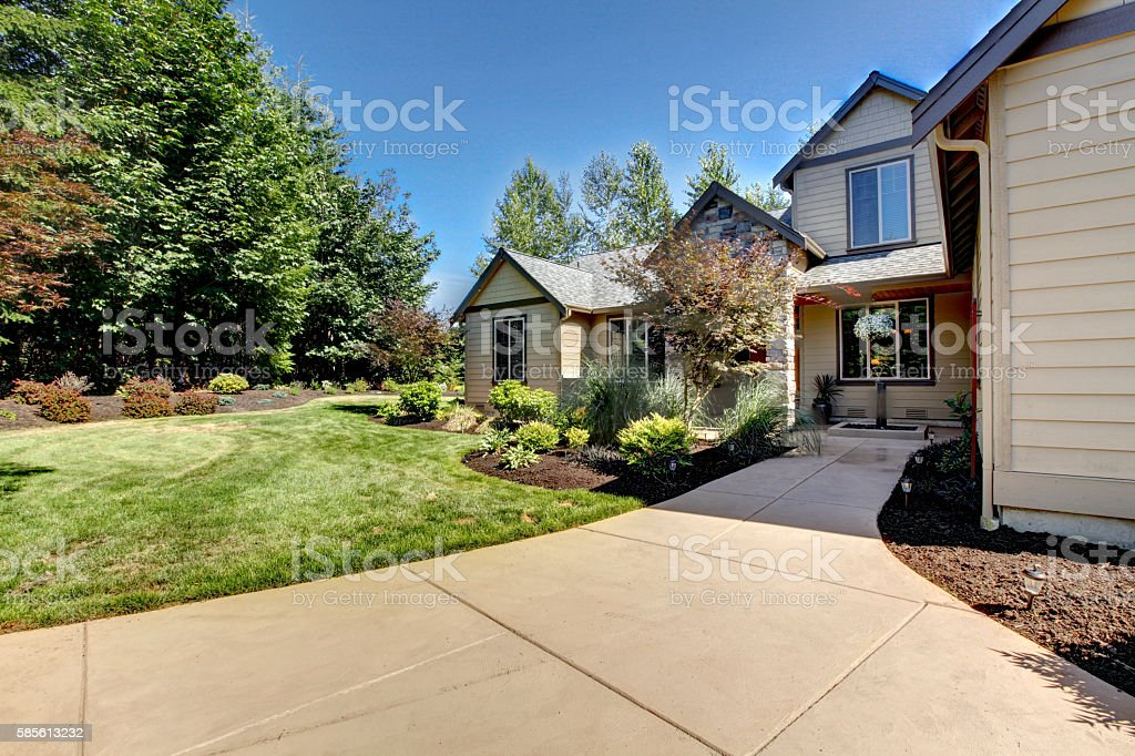 Exterior Of American Two Story House With Concrete Walkway Stock ...