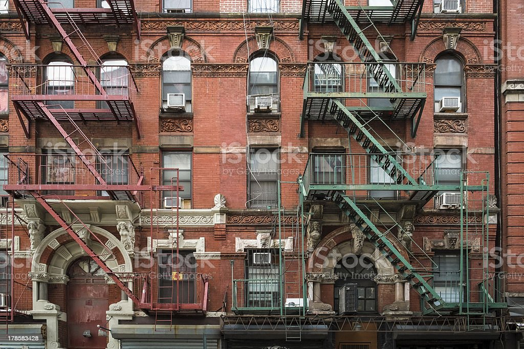 Exterior of an apartment building in Manhattan New York City stock photo