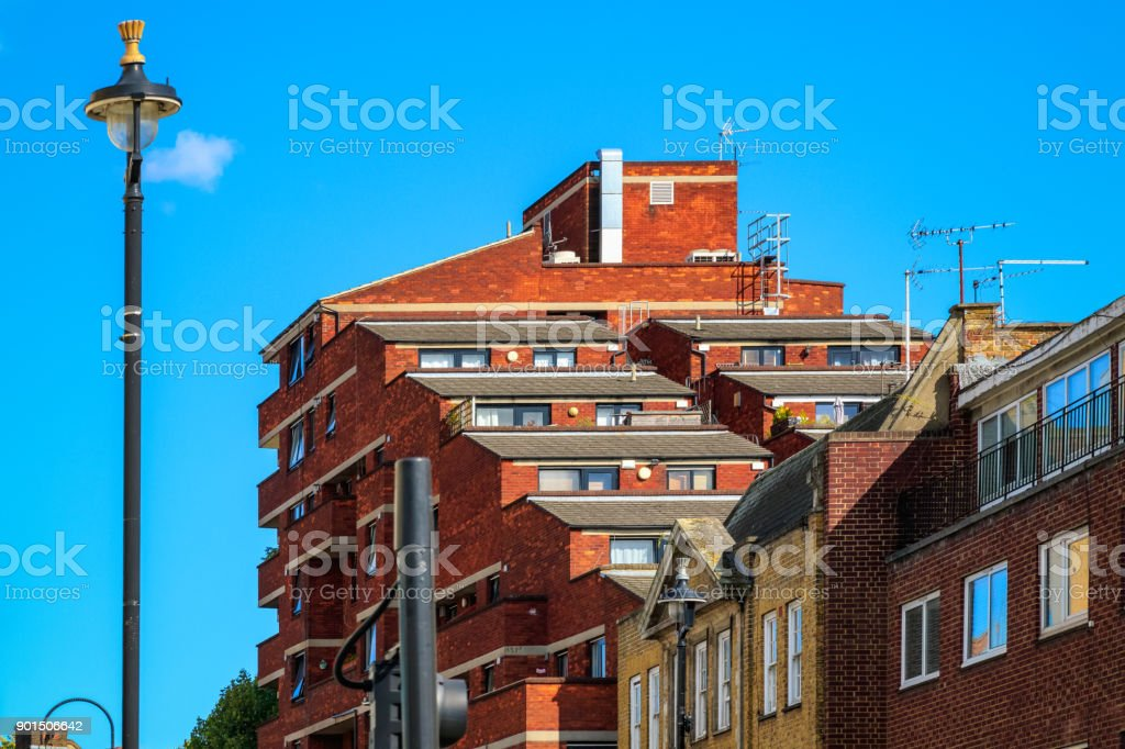 Exterior of an apartment with staggered balconies stock photo
