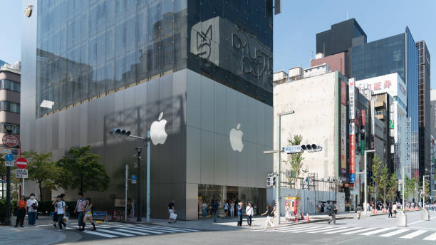Exterior of an Apple store in Ginza, an upscale shopping district in Tokyo. Japan stock photo
