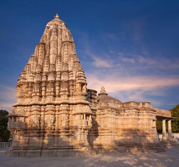 Exterior of ancient Neminath Jain temple in Ranakpur, Rajasthan, India stock photo