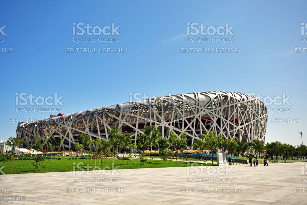 Exterior of Beijing National Olympic Stadium stock photo