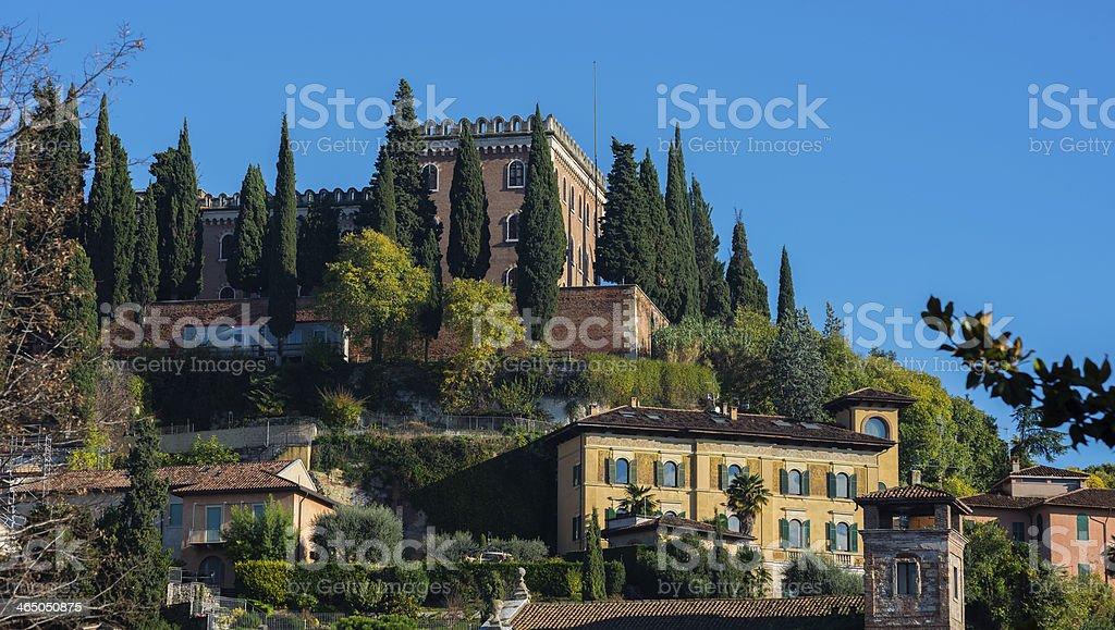 Exterior of Castel San Pietro in Verona, Italy stock photo