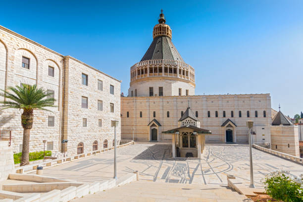 Exterior of Church of the Annunciation or the Basilica of the Annunciation in the city of Nazareth in Galilee northern Israel. Exterior of Church of the Annunciation or the Basilica of the Annunciation in the city of Nazareth in Galilee northern Israel. basilica stock pictures, royalty-free photos & images