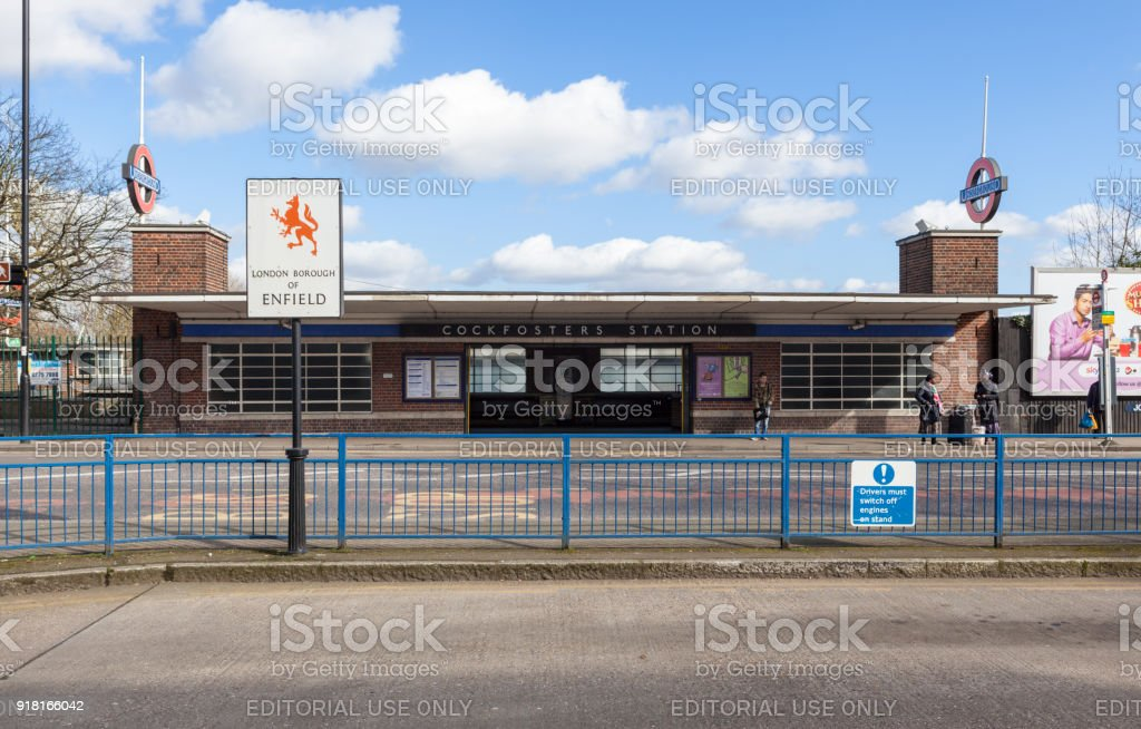 Exterior of Cockfosters Tube Station, London. stock photo