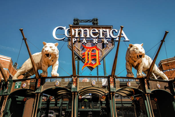 Exterior Of comerica Park Stadium stock photo