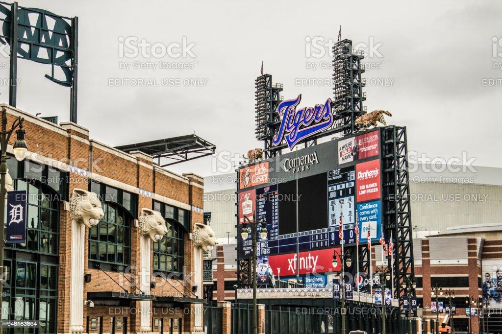 Exterior Of comerica Park Stadium stock photo