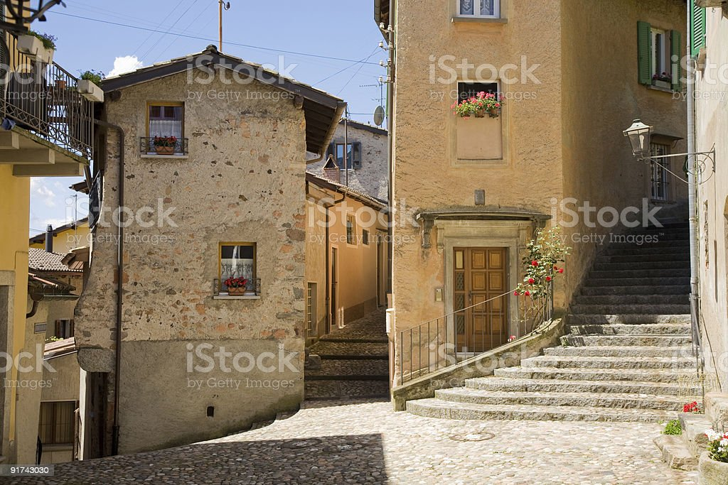 Exterior of concrete buildings and stairs in Lugano royalty-free stock photo