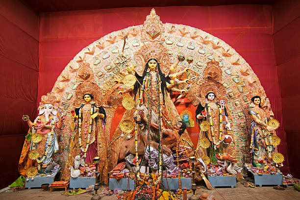 Exterior of decorated Durga Puja pandal, at Kolkata, India. stock photo