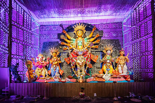 Exterior of decorated Durga Puja pandal,  Kolkata, West Bengal, India. stock photo