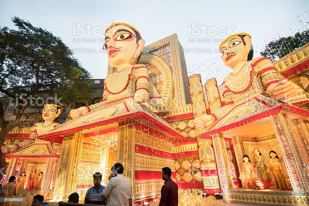 Exterior of decorated durga puja pandal kolkata west bengal india exterior of decorated durga puja pandal kolkata west bengal india royalty altavistaventures Choice Image