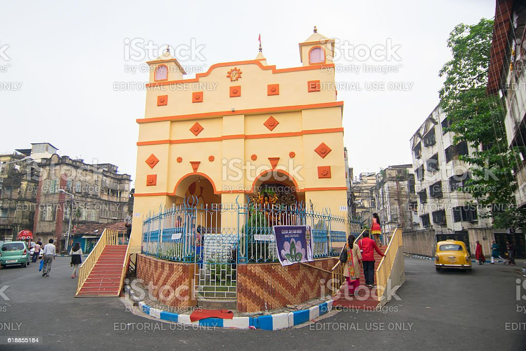 Exterior of decorated durga puja pandal kolkata west bengal india exterior of decorated durga puja pandal kolkata west bengal india royalty thecheapjerseys Images