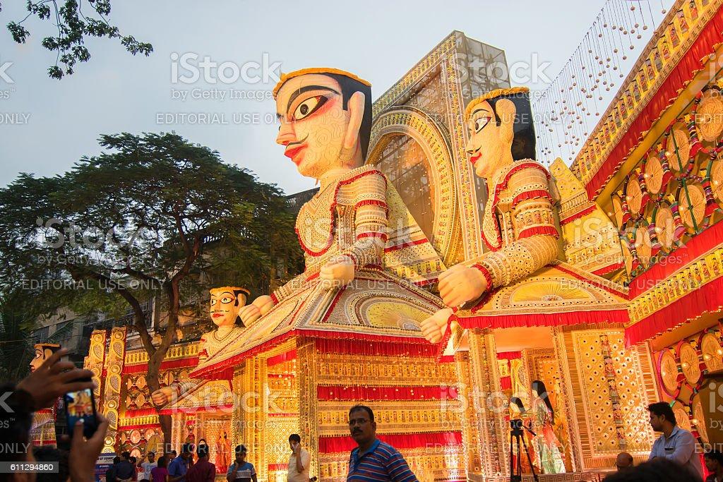 Exterior of durga puja pandal at kolkata west bengal india stock exterior of durga puja pandal at kolkata west bengal india royalty altavistaventures Gallery
