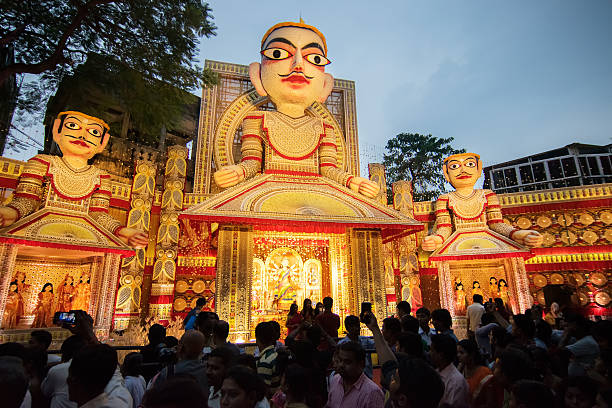 Exterior of Durga Puja pandal, at Kolkata, West Bengal, India. stock photo