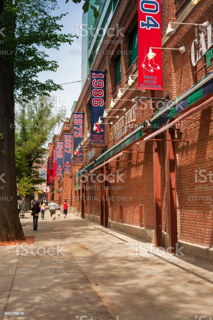 Exterior of Fenway Park in Boston Massachusetts USA stock photo