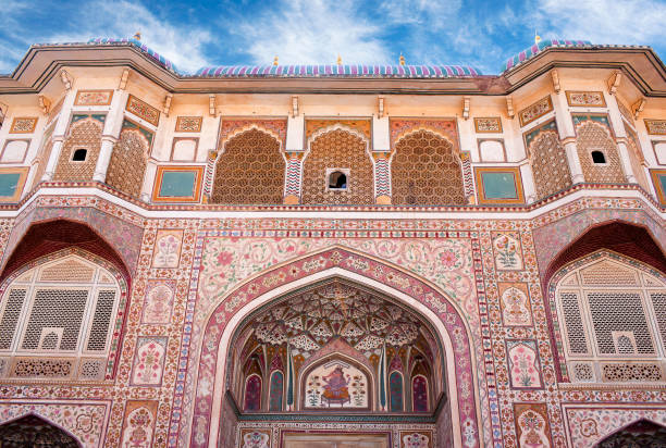 Exterior of Ganesh gate in Amber Palace, Rajasthan state, India stock photo