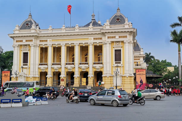 Exterior of Grand Opera House (Nha Hat Lon) in central Hanoi, Vietnam stock photo