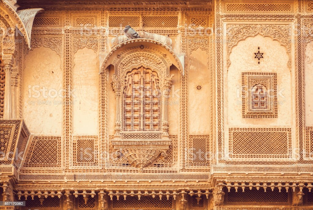 Exterior Of Great Indian House With Historical Carved Walls, Balconies And  Stone Design Elements,