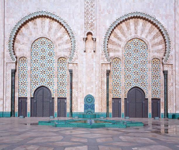 Exterior of  Hassan II Mosque in Casablanca, Morocco stock photo