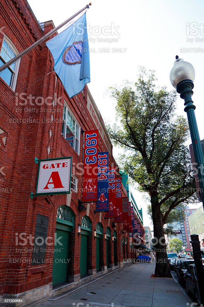 Exterior of Historic Fenway Park,Boston Red Sox Banners, Boston stock photo