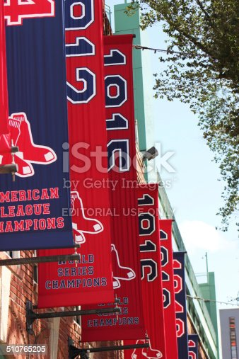 Boston, Ma, USA - August 18,2014: The Exterior of Historic Fenway Park,Boston Red Sox Banners