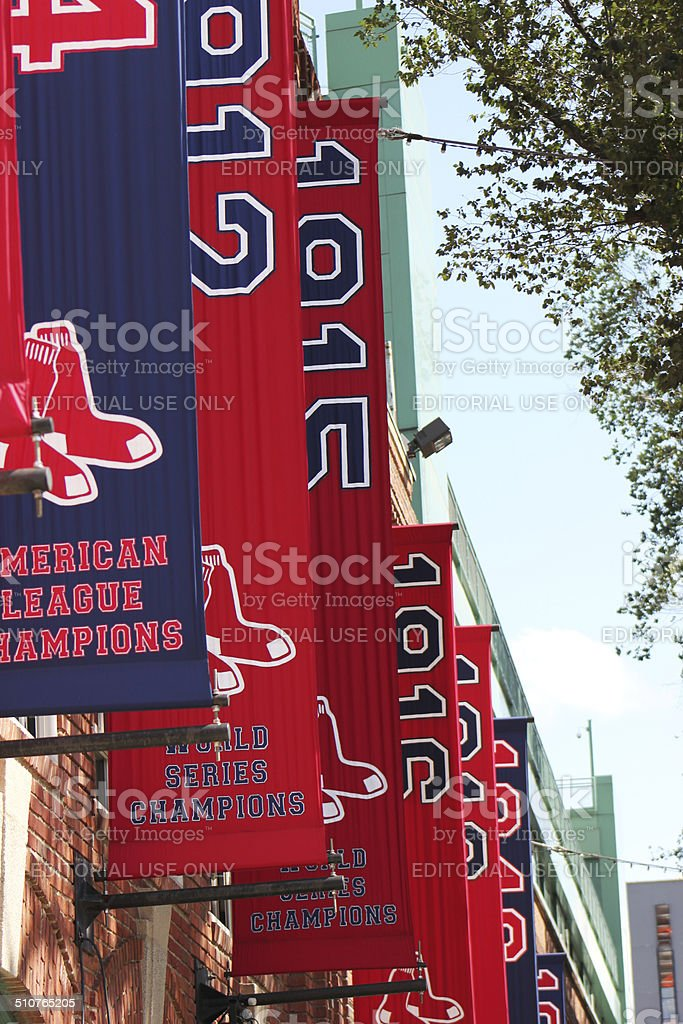 Exterior of Historic Fenway Park,Boston Red Sox Banners, Boston,Mass stock photo