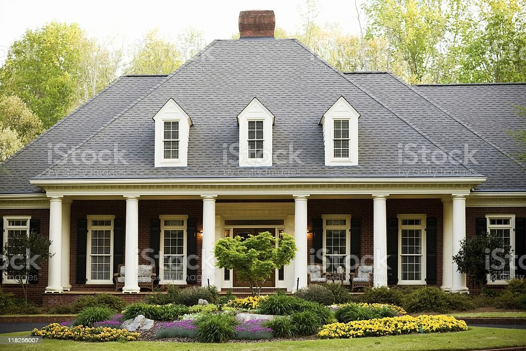 Exterior of House with Columns royalty-free stock photo