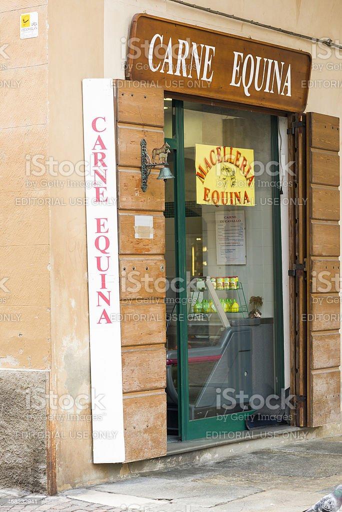Exterior of Italian Horse Meat Shop stock photo