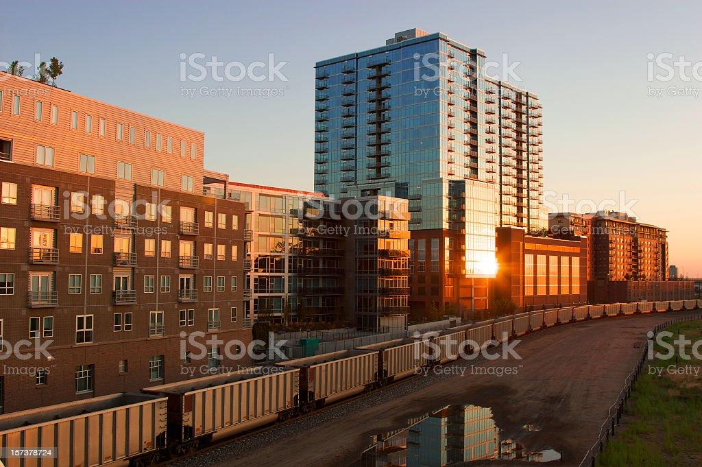 Exterior of lofts near a train yard in Denver stock photo