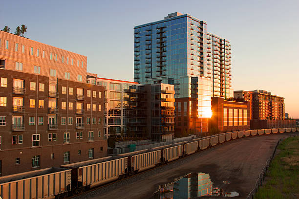 Exterior of lofts near a train yard in Denver stock photo