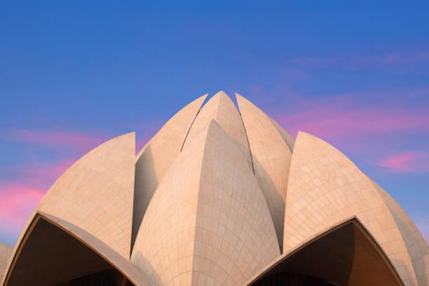 Exterior of Lotus Bahai Temple at sunrise in Delhi, India stock photo