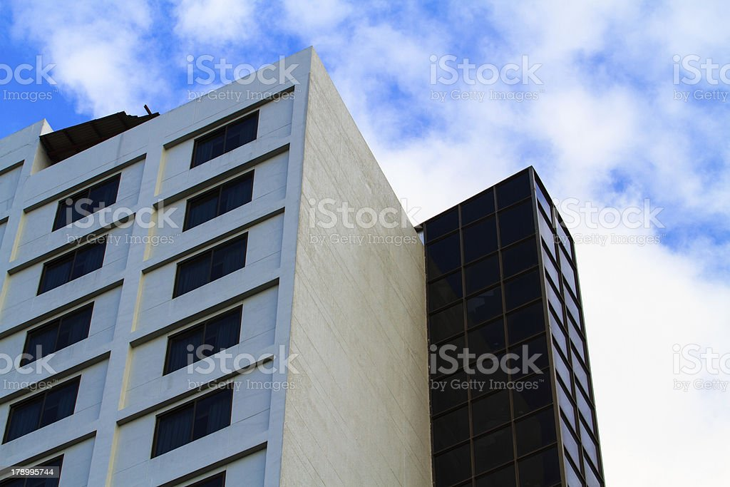 exterior of luxury hotel with blue sky. royalty-free stock photo