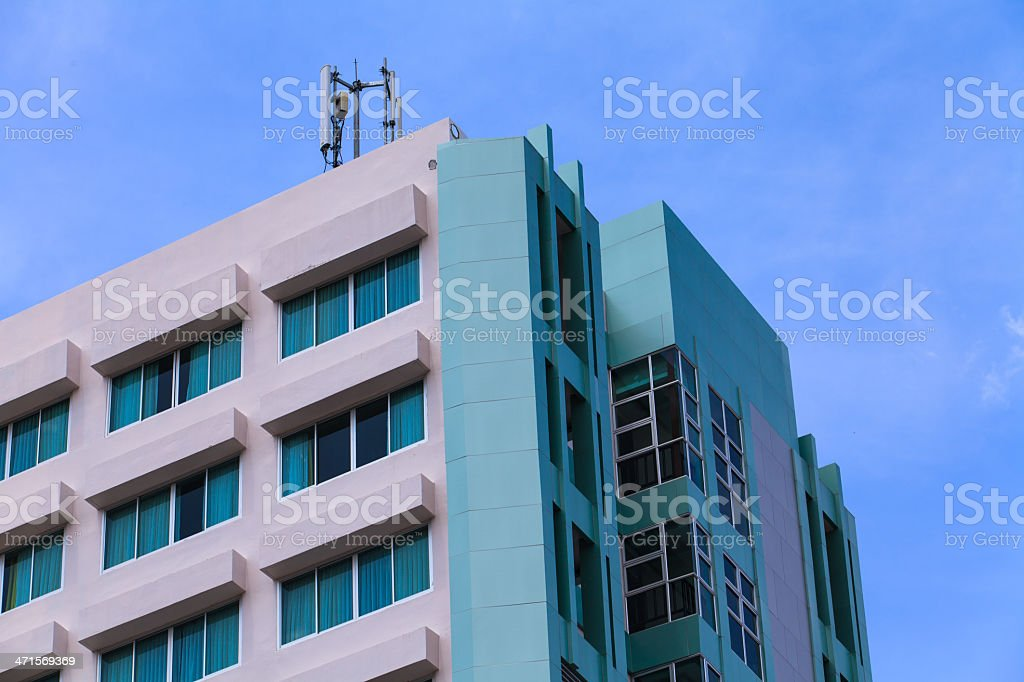 exterior of luxury hotel with Communication Station royalty-free stock photo