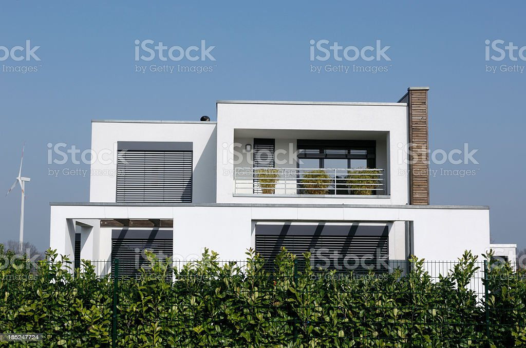 Exterior of luxury white house with balcony stock photo