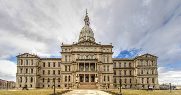 Exterior Of Michigan State Capitol Building In Lansing stock photo