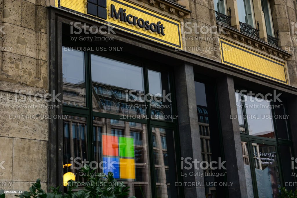 Exterior of Microsoft store at Unter den Linden boulevard in Berlin stock photo
