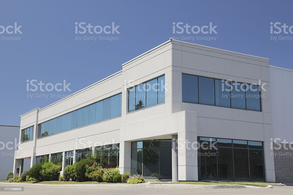 Exterior of modern commercial building, blue sky stock photo