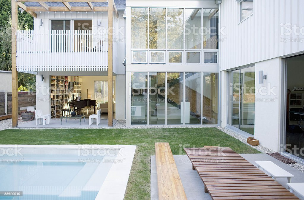 Exterior of modern house, swimming pool royalty-free stock photo