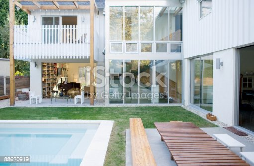 istock Exterior of modern house, swimming pool 88620919