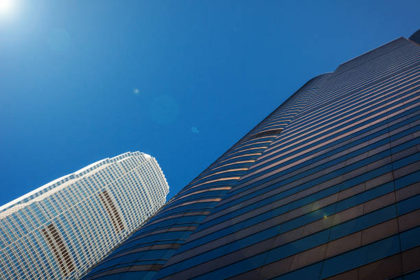 Exterior of modern skyscrapers stock photo
