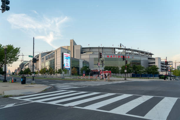 Exterior of Nationals Park stadium in Washington, D.C. Washington DC, USA - September 3rd, 2018: Exterior of Nationals Park stadium,  a baseball-specific ballpark along the Anacostia River in the Navy Yard neighborhood of Washington, D.C. major league baseball stock pictures, royalty-free photos & images
