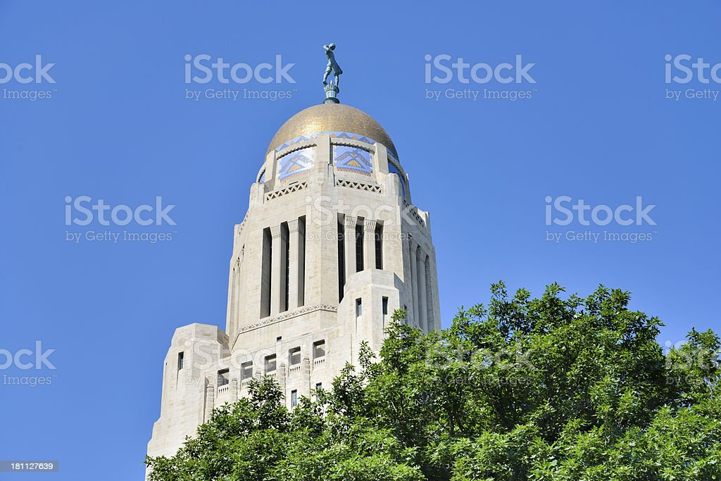 Exterior of Nebraska State Capitol royalty-free stock photo