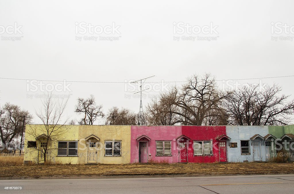 Exterior of old colorful motel rooms stock photo