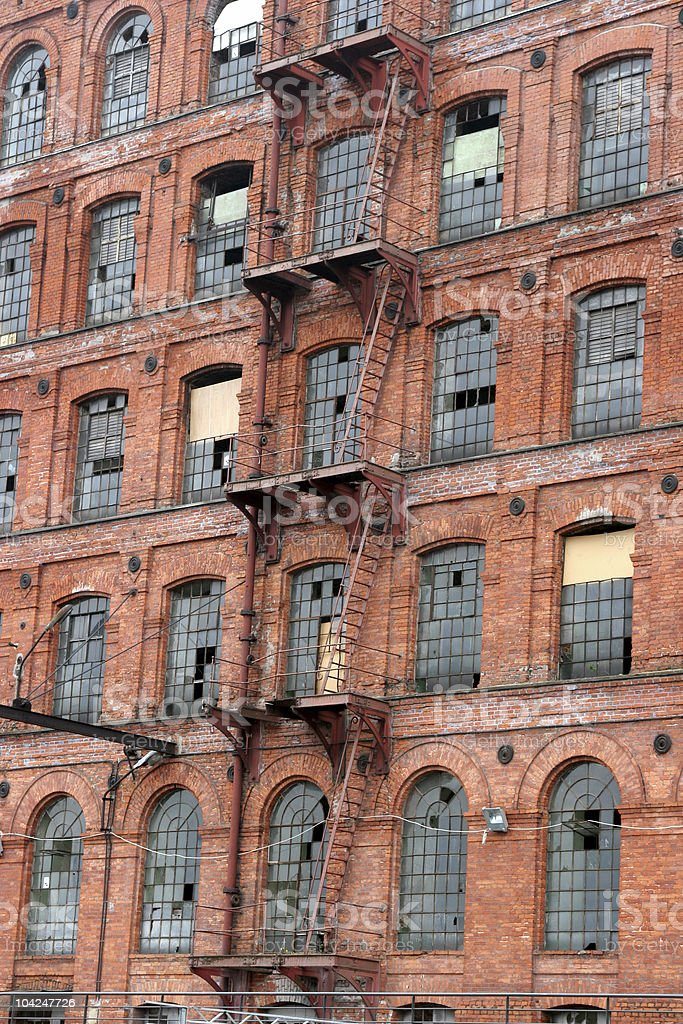 Exterior of old factory royalty-free stock photo
