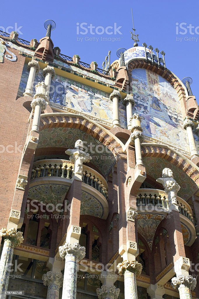 Exterior of Palau de la Musica in Barcelona stock photo