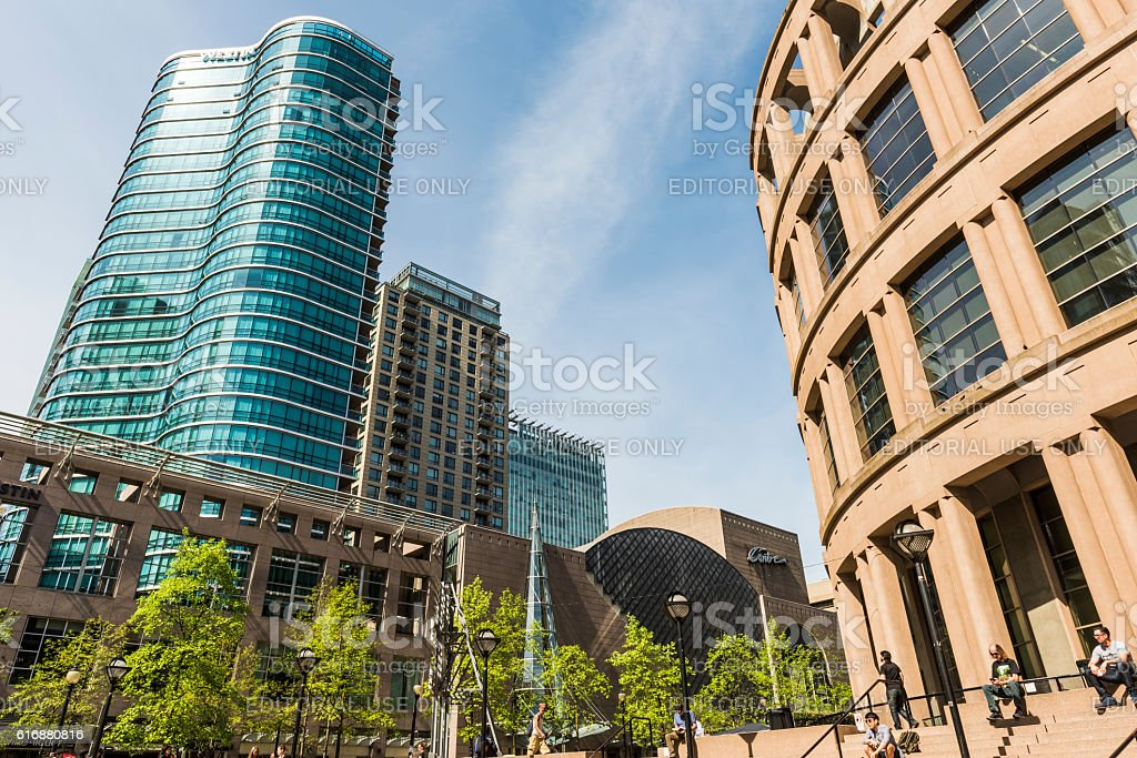 Exterior of public library with Westin hotel building stock photo